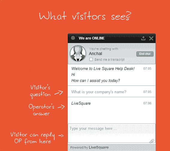 LiveSquare Live Chat Support Easy To Type & View Chat Widget