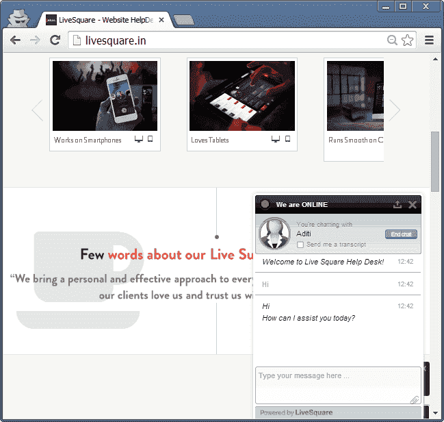 LiveSquare Live Chat Support Embedded Chat Widget